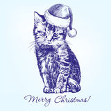 Christmas kitten in Santa stocking hat hand drawn Stock Images