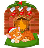 Christmas Kitten Sleeping near Fireplace Royalty Free Stock Image