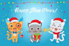 Christmas Kittens Vector. Cat In Christmas Costumes. Design For New Year Holiday Theme. stock illustration