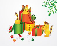 Christmas kitty and gifts Stock Photography