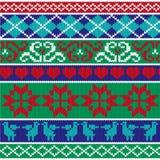 Christmas knit border patterns Royalty Free Stock Photography
