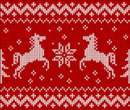 Christmas knit in Norway style with horses Royalty Free Stock Image