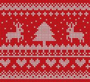 Christmas knit pattern vector design on red background. White knitted on red background Christmas knit pattern. vector design for Christmas day Stock Image