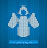 Christmas knitted background with angel vector illustration