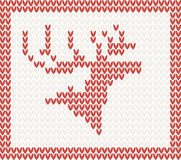 Christmas Knitted background with deer Stock Photo