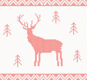 Christmas Knitted background with deer, trees and ornament Royalty Free Stock Photos