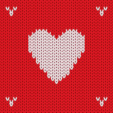 Christmas Knitted background with heart. Vector Stock Photography