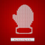 Christmas knitted background with mitten Royalty Free Stock Image