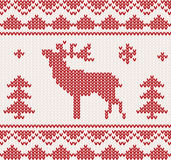 Christmas Knitted background in red color Royalty Free Stock Photos