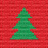 Christmas Knitted background with tree. Vector Stock Images