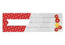 Christmas knitted banner red. Christmas branding template for corporate baners. Flat vector cartoon illustration. Objects isolated on white background Royalty Free Stock Photo