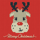 Christmas knitted card or background with a deer Stock Image