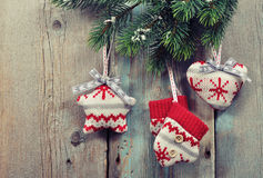 Christmas knitted decoration royalty free stock photos