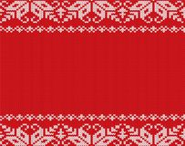 Christmas knitted floral geometric ornament design with empty space for text. Xmas seamless pattern. royalty free illustration