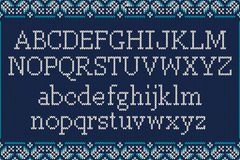 Christmas Knitted Font. Knitted Latin Alphabet on Seamless Backg Royalty Free Stock Image