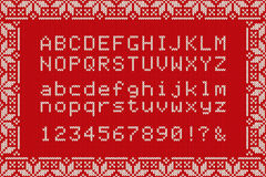 Christmas Knitted Font. Nordic Fair Isle Knitting Sweater Design Stock Photography