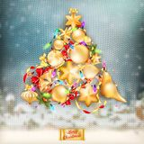 Christmas knitted holidays background. EPS 10. Christmas knitted holidays background with decorations and label. EPS 10 vector file included Royalty Free Stock Image