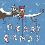 Christmas knitted letters,owl,branch Stock Photo