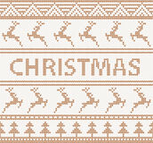 Christmas knitted pattern with deers. seamless Royalty Free Stock Photo