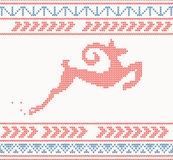 Christmas knitted pattern with jumping goat or deer or sheep Stock Photography