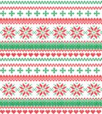 Christmas Knitted Pattern with Reindeer. Christmas festive Norwegian knitted pattern with deer and Christmas trees Stock Photos