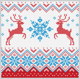 Christmas knitted pattern with snowflake and deer vector set Stock Photo