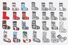 Christmas knitted stockings. Doodle hand sketch Stock Photos