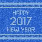 Christmas knitted sweater design pattern. Happy New Year 2017 text. Vector Stock Image