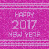 Christmas knitted sweater design pattern. Happy New Year 2017 text. Vector Stock Photo