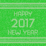 Christmas knitted sweater design pattern. Happy New Year 2017 text. Vector Stock Photography
