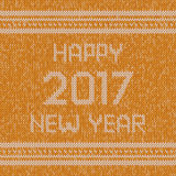 Christmas knitted sweater design pattern. Happy New Year 2017 text. Vector Royalty Free Stock Photo