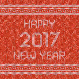 Christmas knitted sweater design pattern. Happy New Year 2017 text. Vector. Christmas red knitted sweater design pattern. Happy New Year 2017 text. Vector EPS10 Stock Photo