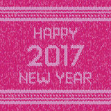 Christmas knitted sweater design pattern. Happy New Year 2017 text. Vector Royalty Free Stock Image