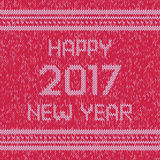 Christmas knitted sweater design pattern. Happy New Year 2017 text. Vector Stock Images