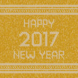 Christmas knitted sweater design pattern. Happy New Year 2017 text. Christmas yellow knitted sweater design pattern. Happy New Year 2017 text. Graphic Royalty Free Stock Photos