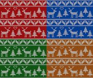 Christmas knitting seamless pattern set. New Year, Christmas and winter vector background. Christmas knitting seamless pattern set with deers and fir trees. New Royalty Free Stock Image