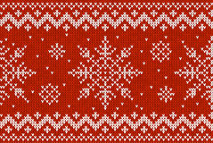Christmas Knitting Seamless Pattern with Snowflakes Royalty Free Stock Image