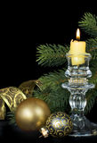 Christmas kompozitsmya with a burning candle Royalty Free Stock Photos