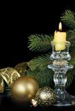 Christmas kompozitsmya with a burning candle Royalty Free Stock Photos
