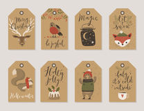 Christmas kraft paper cards and gift tags set, hand drawn style. Stock Photo