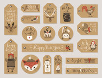 Christmas kraft paper cards and gift tags set, hand drawn style. Stock Images