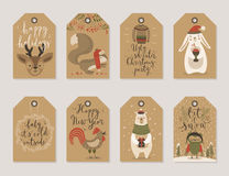 Christmas kraft paper cards and gift tags set, hand drawn style. Stock Photos