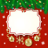 Christmas label and baubles on knitted background Stock Image