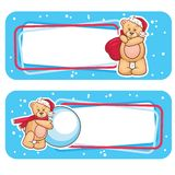Christmas label  bear Royalty Free Stock Images