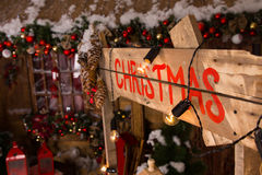 Christmas Label on Booth Wall with Decors Stock Photo