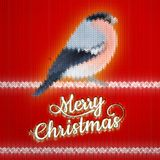 Christmas label with Bullfinch. EPS 10. Christmas label with Bullfinch on a knitted red backgroun. EPS 10 vector file included royalty free illustration