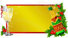 Christmas label Champagne. Christmas background with champagne and berry Stock Photo