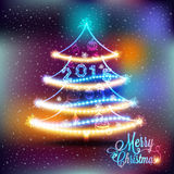 Christmas label with colored lights on a Christmas tree Royalty Free Stock Photos