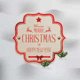 Christmas  label. With holidays greeting Stock Photo