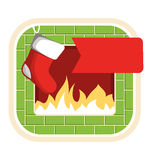 Christmas Label Icon Flat with Fireplace and Sock  on Wh Royalty Free Stock Photo